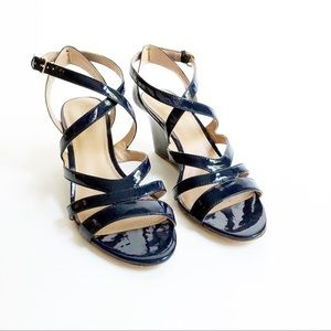J. Crew Marci Patent Wedge Sandals Size 8.5
